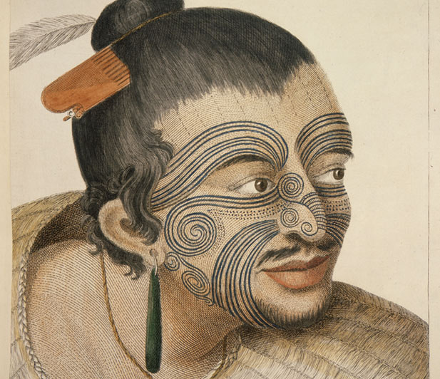Portrait of an unknown young Māori chief