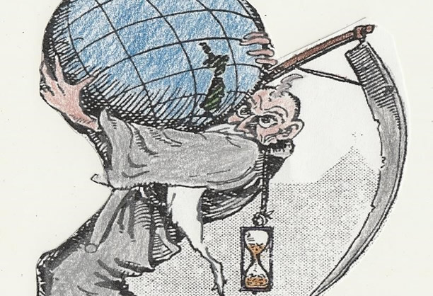 'Old Father Time' cartoon drawn by Kenneth Alexander in 1927