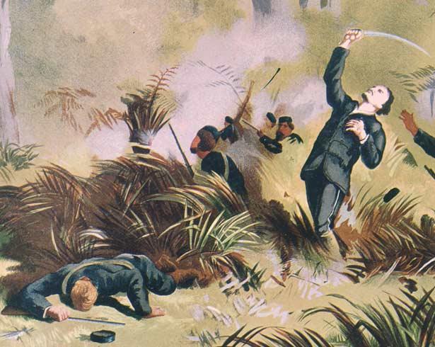 Haka, Maori war-dance, New Zealand Wars, 1845 to 1872 Stock Photo ...