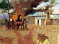 Painting of destroyed Boer farmhouse