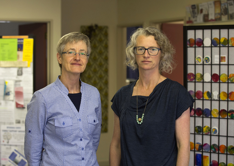 Ardas Trebus (left) and Ariane Hollis-Locke of the Christchurch Women's Centre, 2016