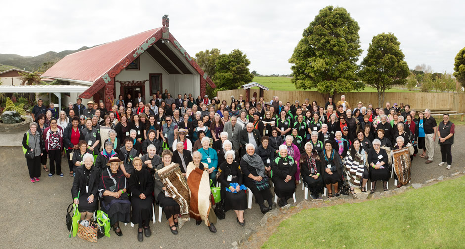 Group attending hui at Marae