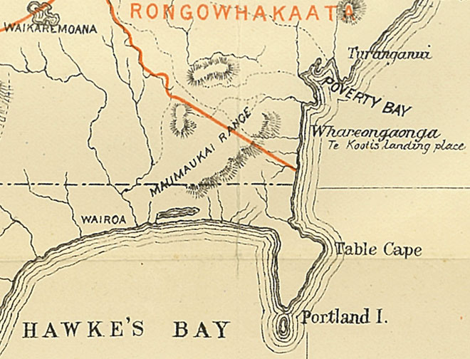 North Island map showing the government's understanding of iwi boundaries, 1890s.