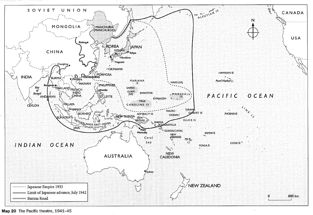 Map of the Pacific theatre 19411945  NZHistory New Zealand
