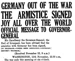 Armistice signed headline