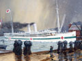 Deaprture of the Hospital Ship Maheno by Walter Bowring, 1915