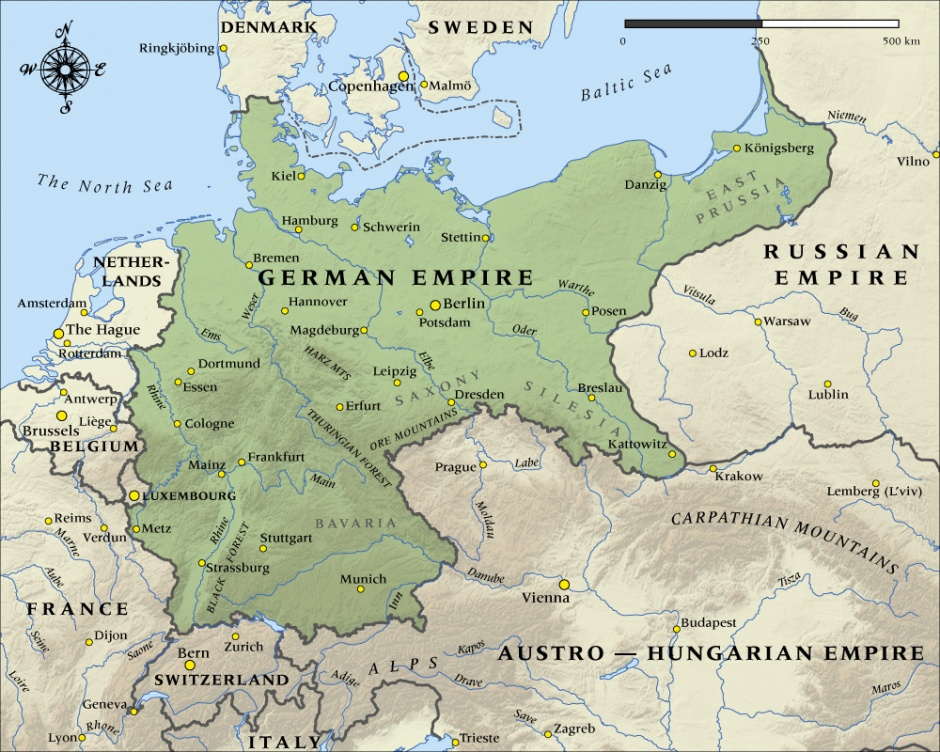 Map of the German Empire in 1914 | NZHistory, New Zealand history online