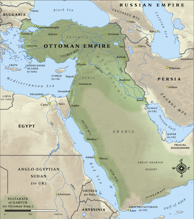 Map of Ottoman Empire in 1914 | NZHistory, New Zealand ...