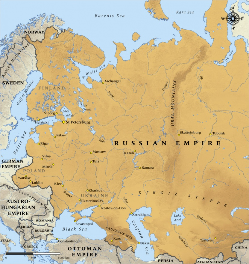 Map Of The Russian Empire In NZHistory New Zealand History - Russia world map