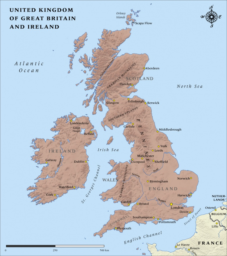 Map Of England 1100.United Kingdom Of Great Britain And Ireland 1914