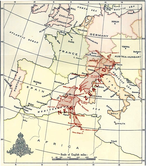 If new zealand was in europe map nzhistory new zealand history online this map from the 1919 year book shows where new zealand would be situated if placed in the corresponding northern hemisphere latitude but with east gumiabroncs Image collections