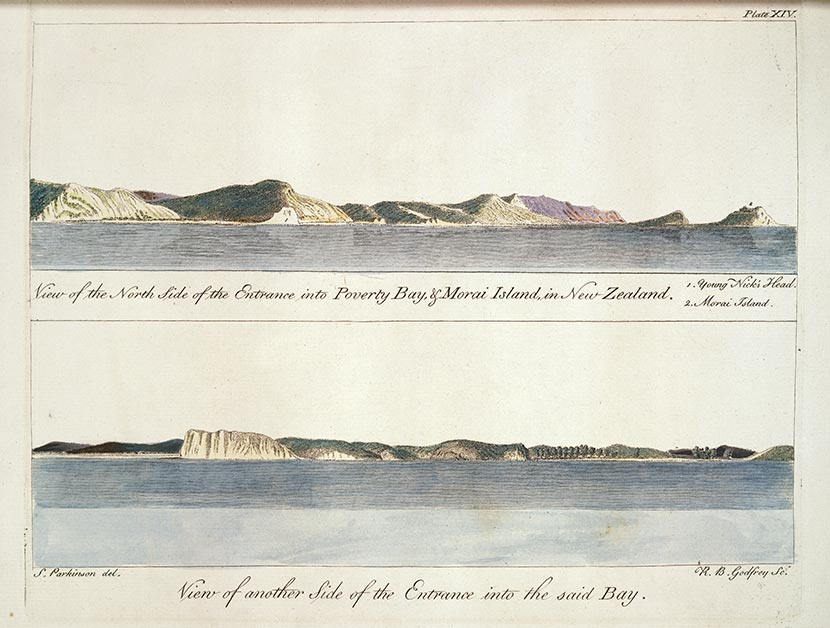 Views of Poverty Bay from Cook's first voyage