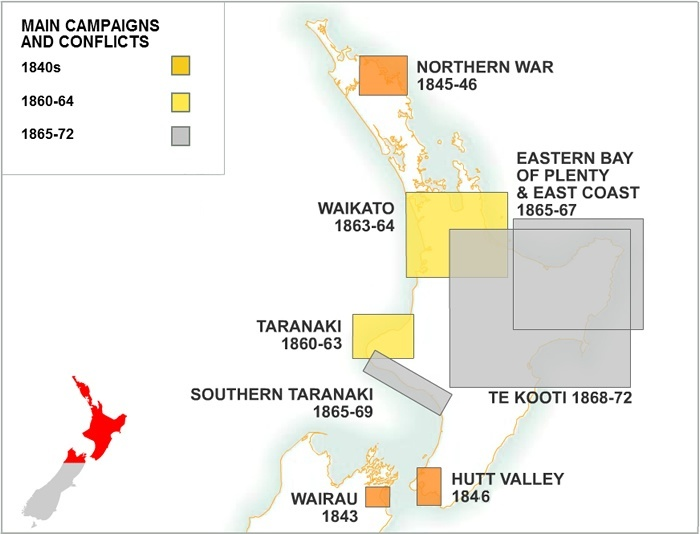 New Zealand Wars map NZHistory New Zealand history online
