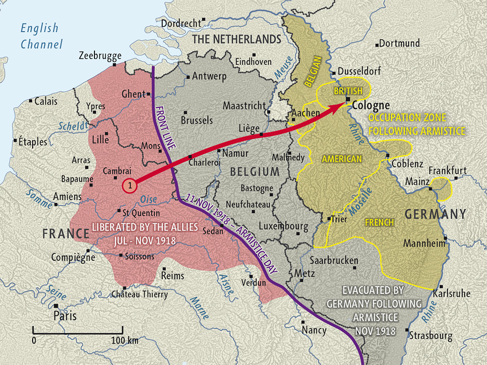 Map Of Germany Showing Cologne.Armistice And Occupation Of Germany Map Nzhistory New Zealand