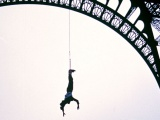 A.J. Hackett bungy jumps from Eiffel Tower