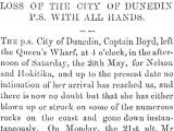 Loss of <em>City of Dunedin</em> with all hands
