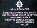 96th Regiment NZ Wars memorial plaque