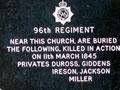 96th Regiment NZ Wars memorial plaque