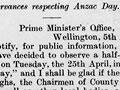 Anzac Day Gazette notice, 1916