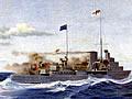 HMS <em>Achilles</em> during the Battle of the River Plate