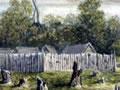 Painting of Boulcott's stockade in Hutt Valley
