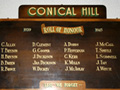 Conical Hills roll of honour board