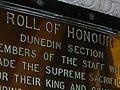 Dunedin railway station roll of honour board