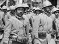 Italian soldiers march through Salonika
