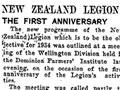 NZ Legion first anniversary