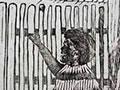 Māori at gates of New Plymouth cartoon