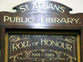 St Albans library First World War roll of honour