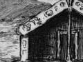 Etching of Māori King's residence, Whatiwhatihoe