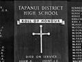 Tapanui High School roll of honour board