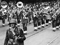 US troops march along Queen Street, Auckland