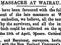 Newspaper report of the Wairau incident