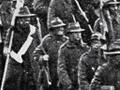 Infantry marching over Grafton Bridge