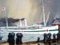 <em>Maheno</em> sailing from Wellington painting