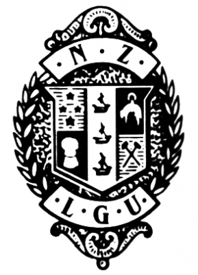 Coat of arms within wreaths above letters L.G.U.